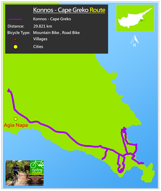 Chypre Konnos Cape Greko Route Map