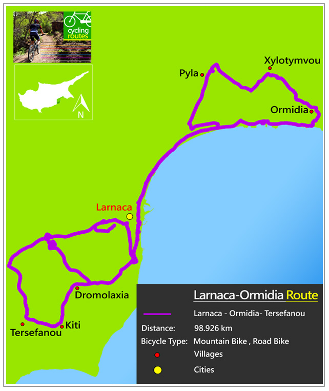 Chypre Larnaca Ormidia Route Map
