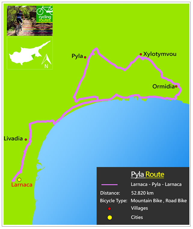 Chypre Pyla Route Map