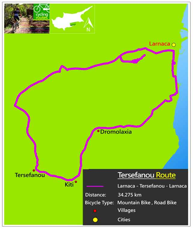 Chypre Tersefanou Route Map