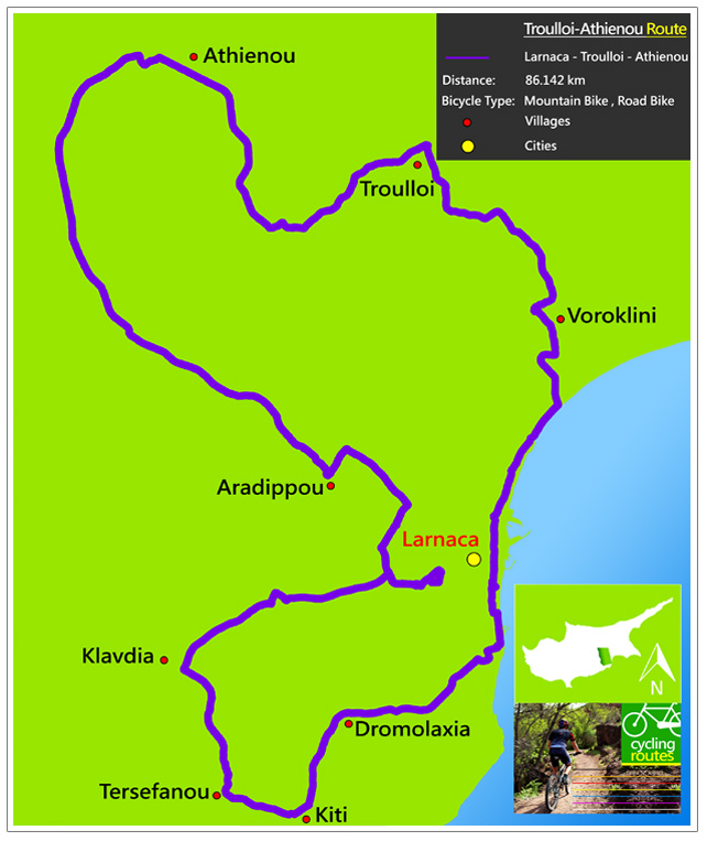 Chypre Troulloi Athienou Route Map