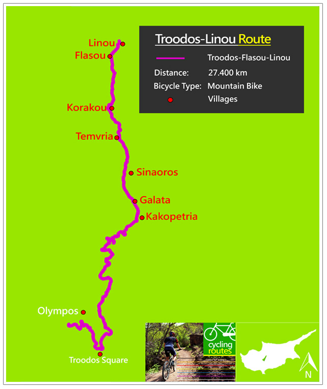 Troodos Flasou Linou mappa