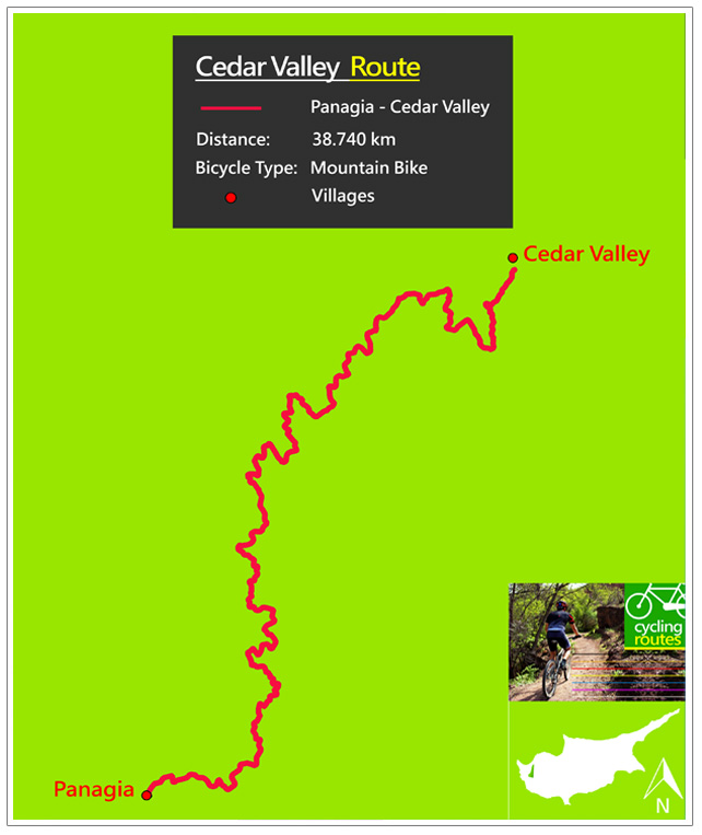 Chypre Cedar Valley Route Map