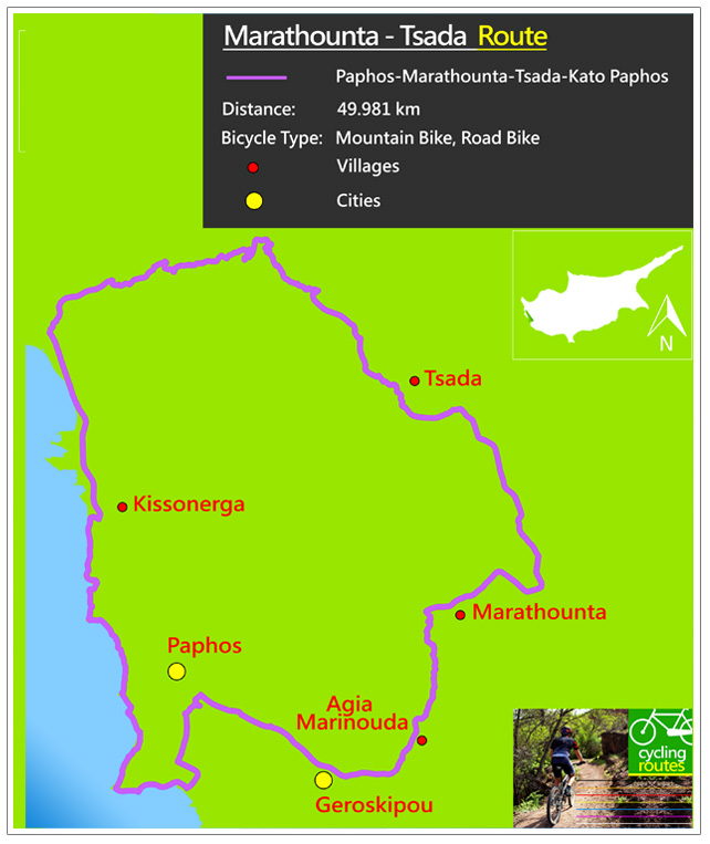 Chypre Marathounta Tsada Route Map