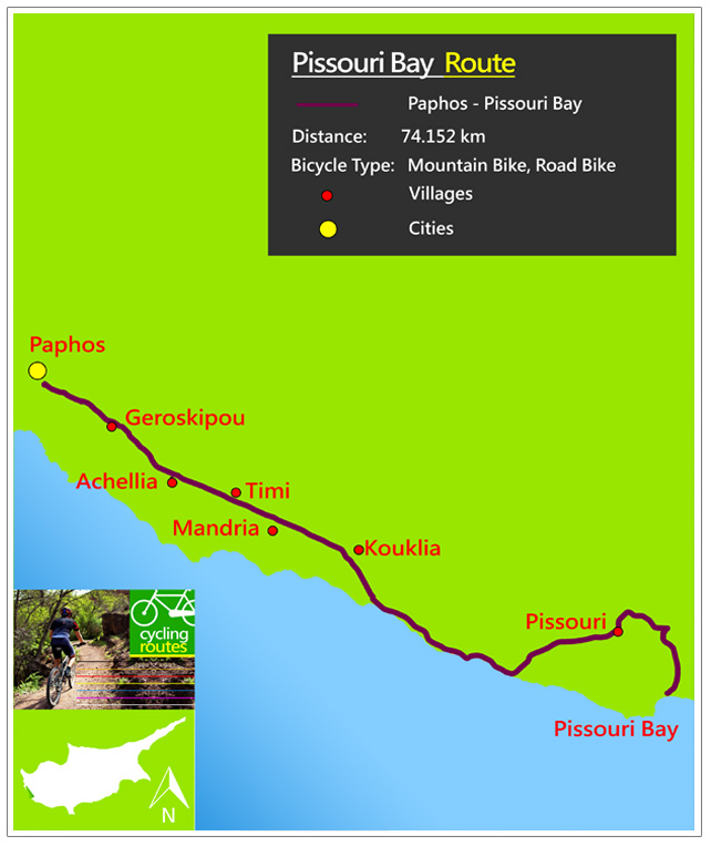 Chypre Pissouri Bay Route Map